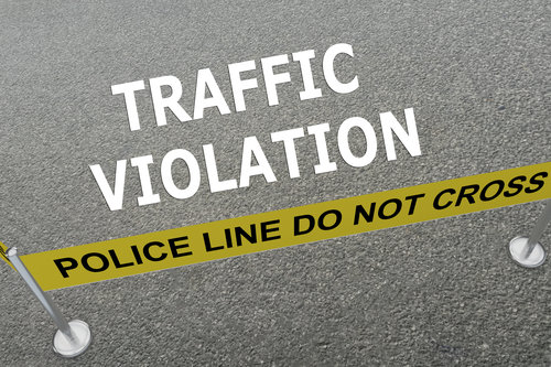 Render illustration of Traffic Violation title on the ground in a police arena
