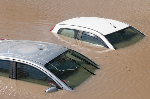 Flooded cars.