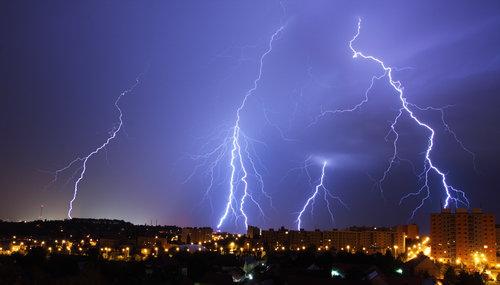 lightning, night storm